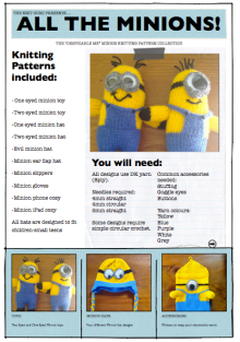 10 Minion themed knitting patterns as a downloadable PDF.