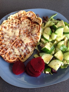 Potato Waffles and garden vege